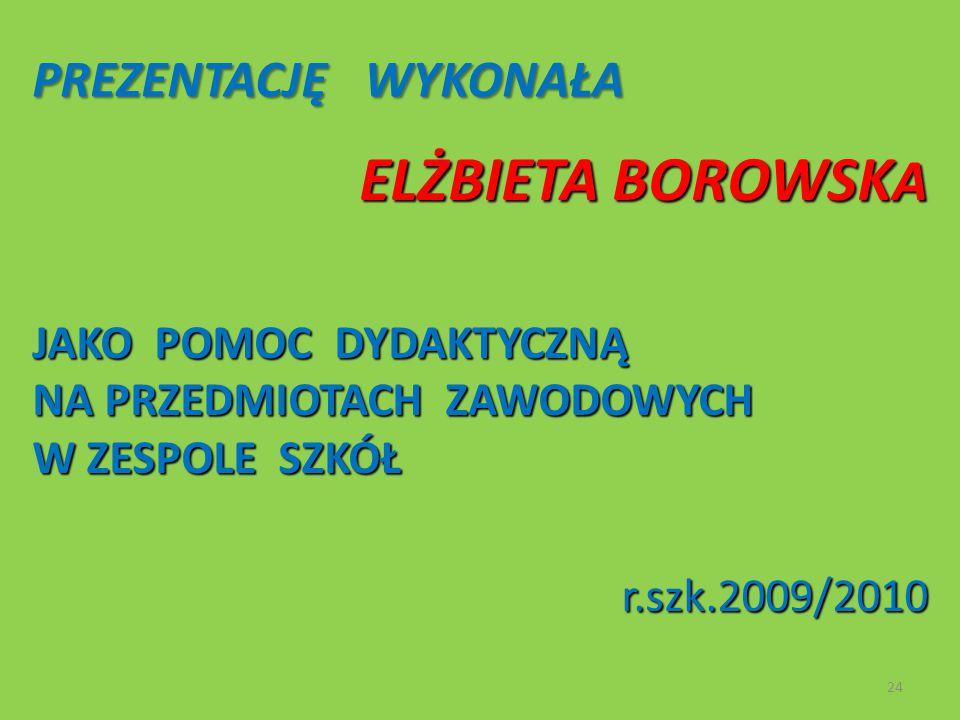 PREZENTACJĘ WYKONAŁA PREZENTACJĘ WYKONAŁA ELŻBIETA BOROWSK A JAKO POMOC DYDAKTYCZNĄ NA PRZEDMIOTACH ZAWODOWYCH W ZESPOLE SZKÓŁ r.szk.2009/2010 r.szk.2