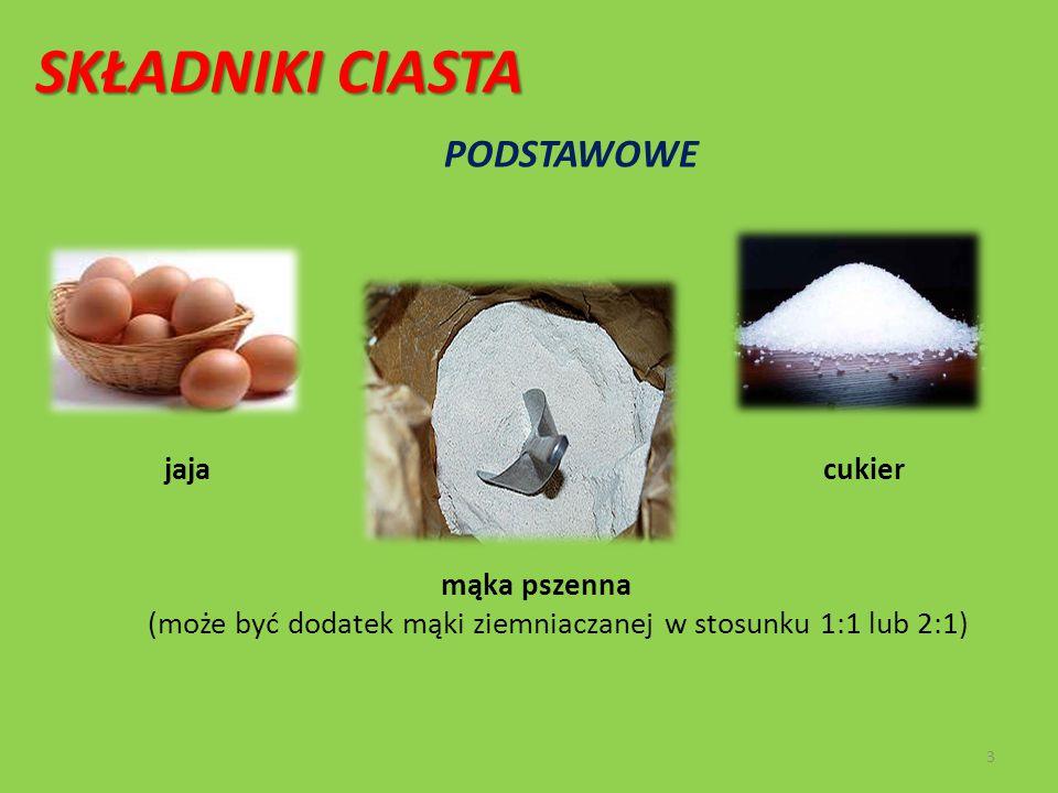 SKŁADNIKI CIASTA PODSTAWOWE jaja cukier mąka pszenna (może być dodatek mąki ziemniaczanej w stosunku 1:1 lub 2:1) 3