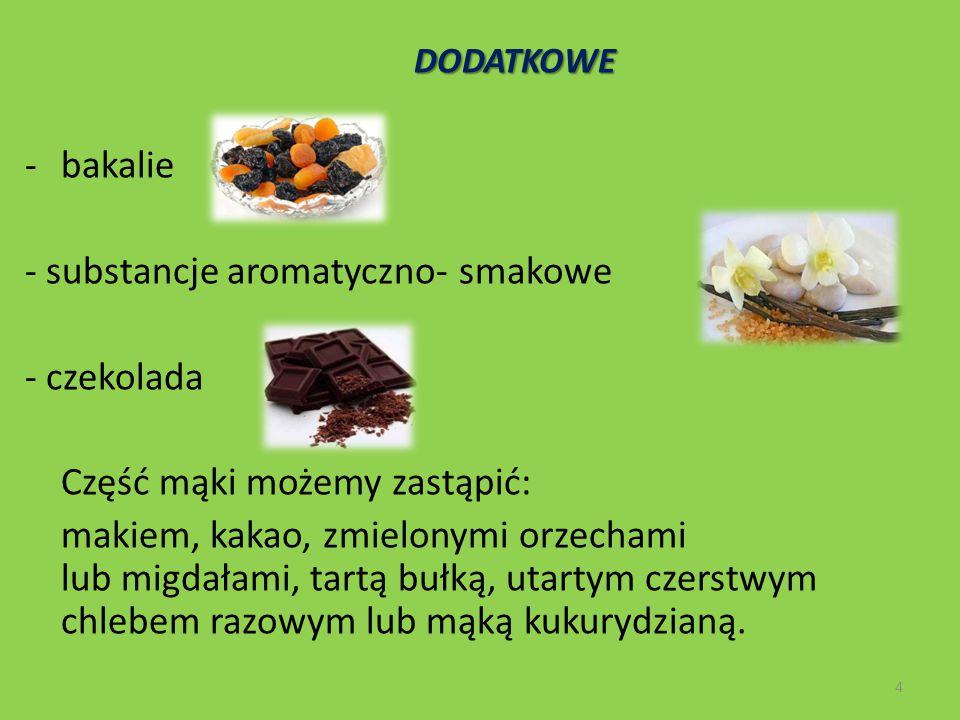 DODATKOWE DODATKOWE -bakalie - substancje aromatyczno- smakowe - czekolada Część mąki możemy zastąpić: makiem, kakao, zmielonymi orzechami lub migdała