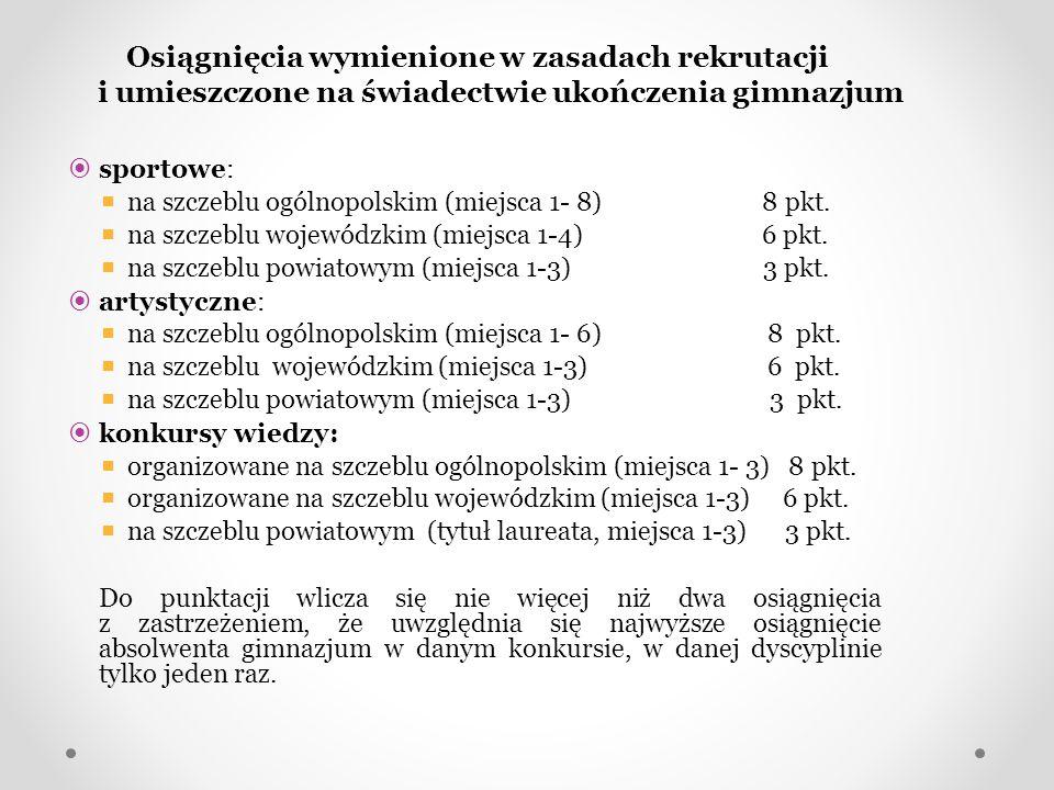 Osiągnięcia wymienione w zasadach rekrutacji i umieszczone na świadectwie ukończenia gimnazjum  sportowe:  na szczeblu ogólnopolskim (miejsca 1- 8)