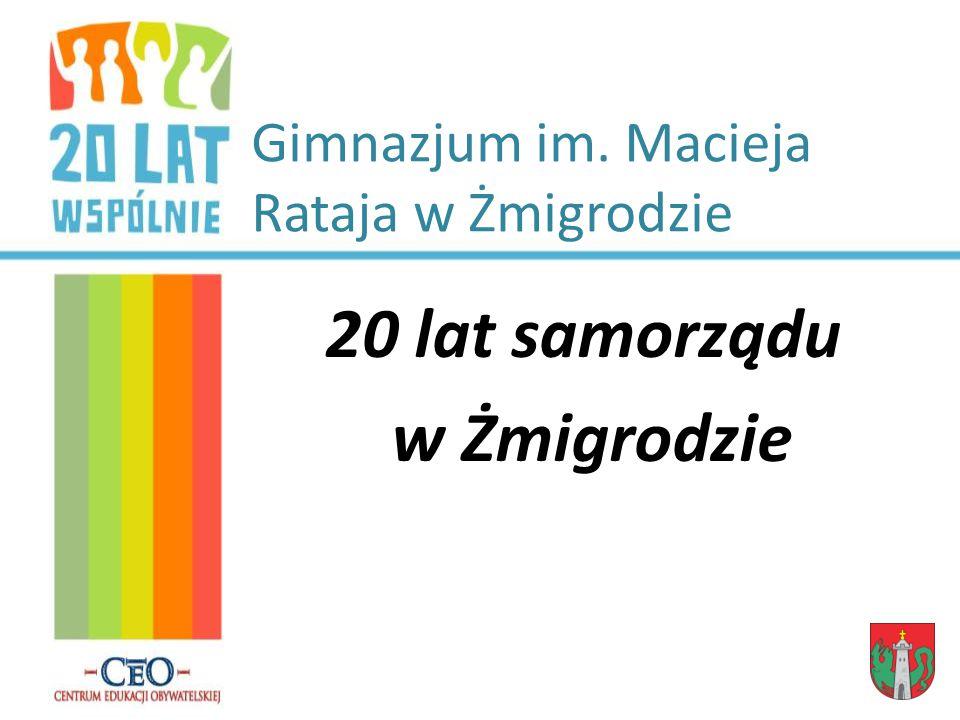 Gimnazjum im. Macieja Rataja w Żmigrodzie 20 lat samorządu w Żmigrodzie