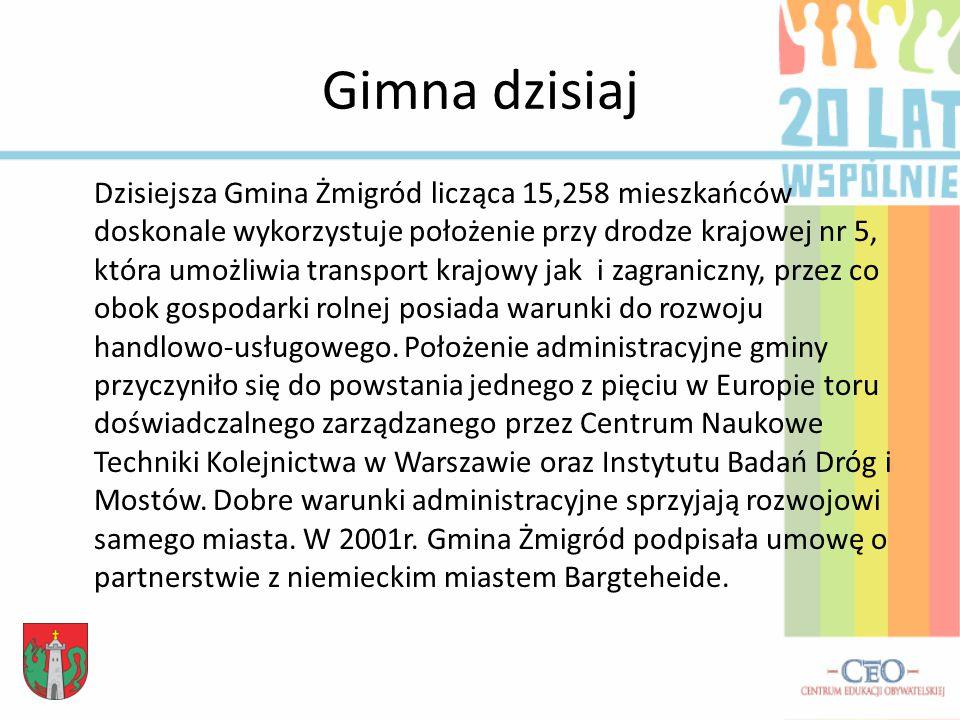 Gimna dzisiaj Dzisiejsza Gmina Żmigród licząca 15,258 mieszkańców doskonale wykorzystuje położenie przy drodze krajowej nr 5, która umożliwia transport krajowy jak i zagraniczny, przez co obok gospodarki rolnej posiada warunki do rozwoju handlowo-usługowego.