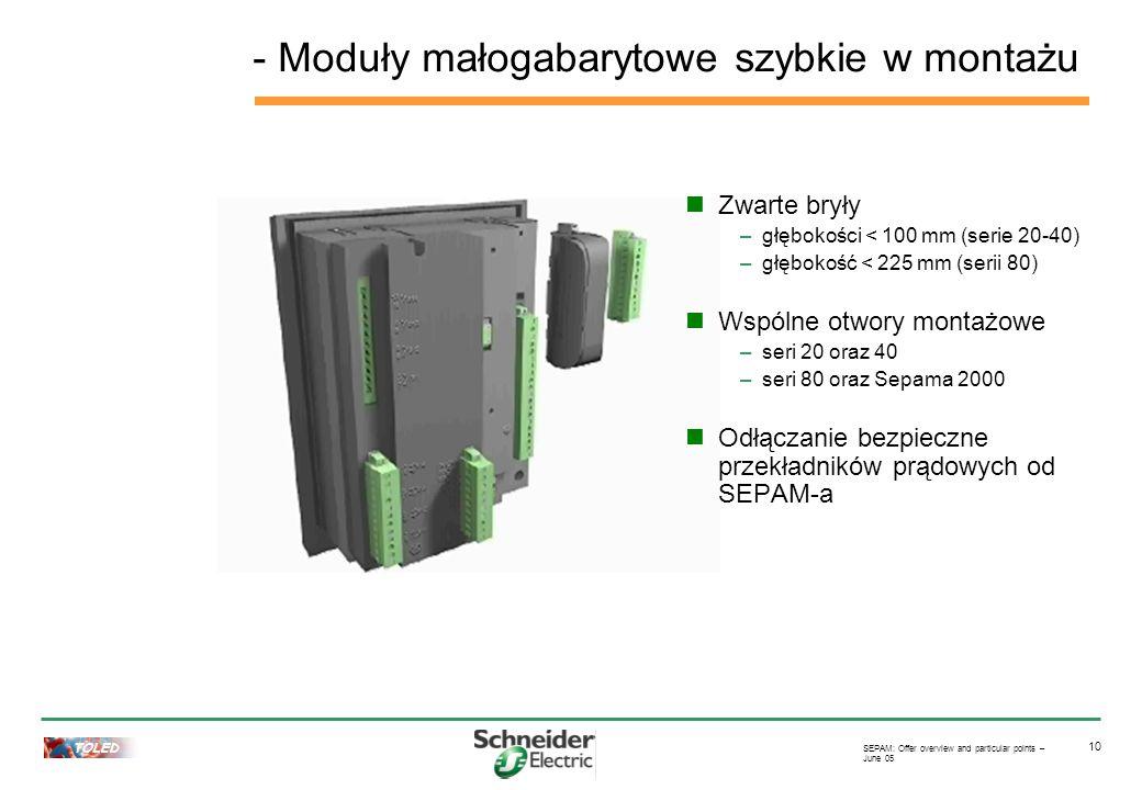 TOLED SEPAM: Offer overview and particular points – June 05 10 Zwarte bryły –głębokości < 100 mm (serie 20-40) –głębokość < 225 mm (serii 80) Wspólne otwory montażowe –seri 20 oraz 40 –seri 80 oraz Sepama 2000 Odłączanie bezpieczne przekładników prądowych od SEPAM-a - Moduły małogabarytowe szybkie w montażu
