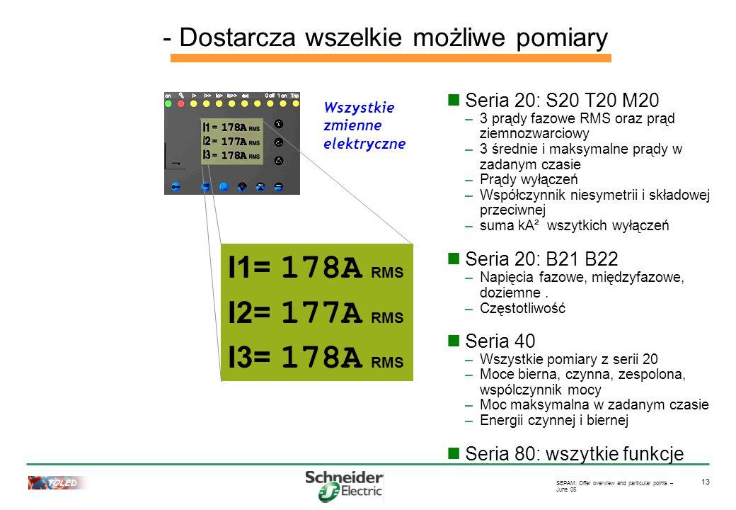 TOLED SEPAM: Offer overview and particular points – June 05 13 Seria 20: S20 T20 M20 –3 prądy fazowe RMS oraz prąd ziemnozwarciowy –3 średnie i maksymalne prądy w zadanym czasie –Prądy wyłączeń –Współczynnik niesymetrii i składowej przeciwnej –suma kA² wszytkich wyłączeń Seria 20: B21 B22 –Napięcia fazowe, międzyfazowe, doziemne.