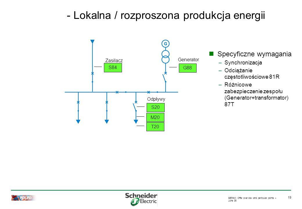 TOLED SEPAM: Offer overview and particular points – June 05 19 - Lokalna / rozproszona produkcja energii G88 Generator S84 Zasilacz S20 Odpływy M20 T20 Specyficzne wymagania –Synchronizacja –Odciążanie częstotliwościowe 81R –Różnicowe zabezpieczenie zespołu (Generator+transformator) 87T