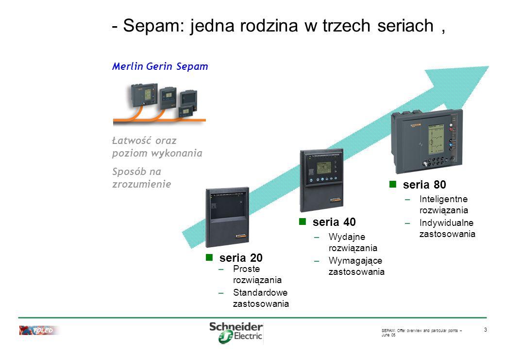 TOLED SEPAM: Offer overview and particular points – June 05 3 Merlin Gerin Sepam Łatwość oraz poziom wykonania Sposób na zrozumienie seria 20 –Proste rozwiązania –Standardowe zastosowania seria 40 –Wydajne rozwiązania –Wymagające zastosowania seria 80 –Inteligentne rozwiązania –Indywidualne zastosowania - Sepam: jedna rodzina w trzech seriach,