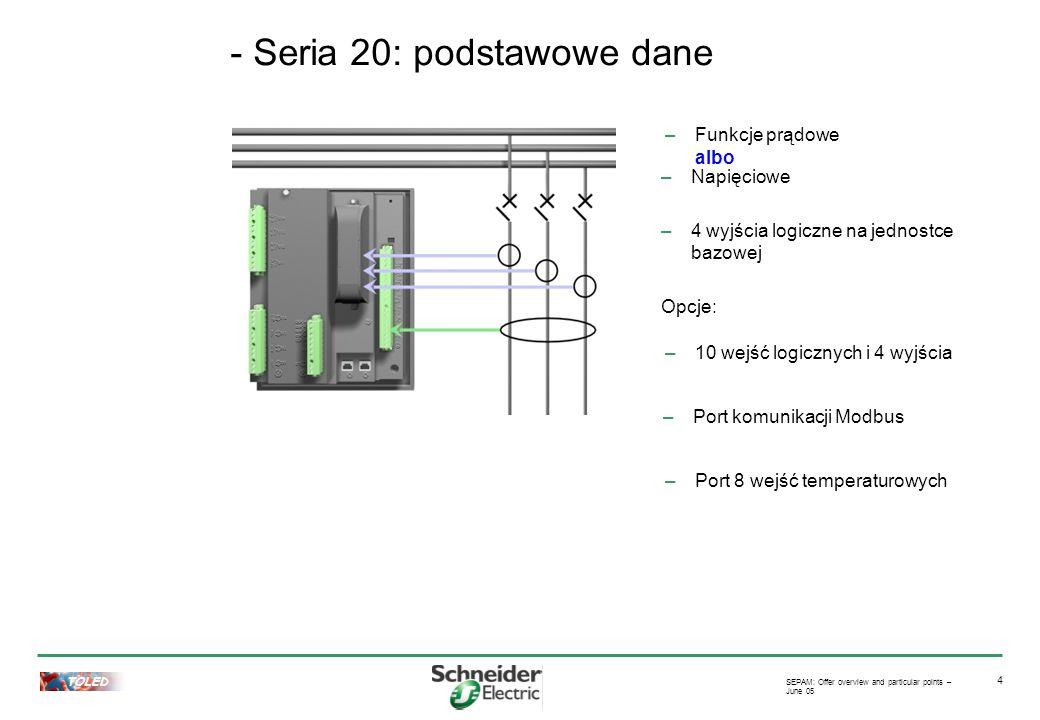 TOLED SEPAM: Offer overview and particular points – June 05 5 –Funkcje prądu oraz napięcia –Edycja równań logicznych –Zabezpieczenia kierunkowe : fazowe oraz ziemnozwarciowe - Seria 40: dane podstawowe –4 wyjścia na jednostce bazowej –10 wejść logicznych i 4 wyjścia –Port komunikacji Modbus –Port 8 wejść temperaturowych Opcje: