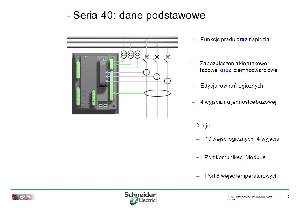 TOLED SEPAM: Offer overview and particular points – June 05 5 –Funkcje prądu oraz napięcia –Edycja równań logicznych –Zabezpieczenia kierunkowe : fazo