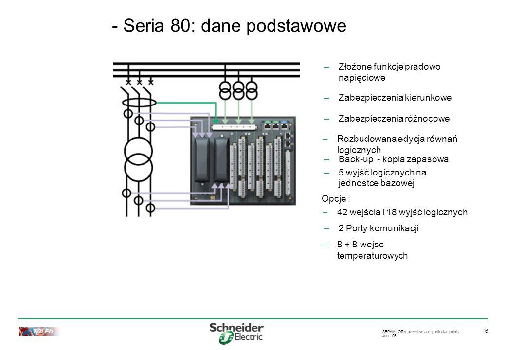 TOLED SEPAM: Offer overview and particular points – June 05 6 –Złożone funkcje prądowo napięciowe –42 wejścia i 18 wyjść logicznych –2 Porty komunikacji –Rozbudowana edycja równań logicznych –Zabezpieczenia kierunkowe –8 + 8 wejsc temperaturowych –Zabezpieczenia różnocowe –Back-up - kopia zapasowa –5 wyjść logicznych na jednostce bazowej Opcje : - Seria 80: dane podstawowe