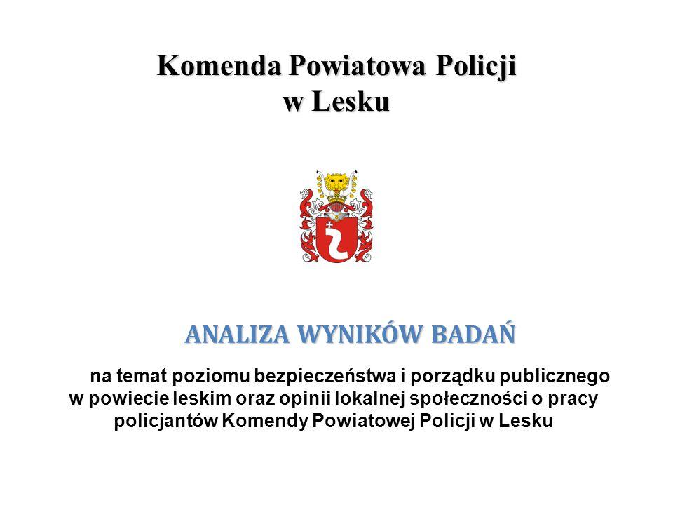 Komenda Powiatowa Policji w Lesku ANALIZA WYNIKÓW BADAŃ na temat poziomu bezpieczeństwa i porządku publicznego w powiecie leskim oraz opinii lokalnej