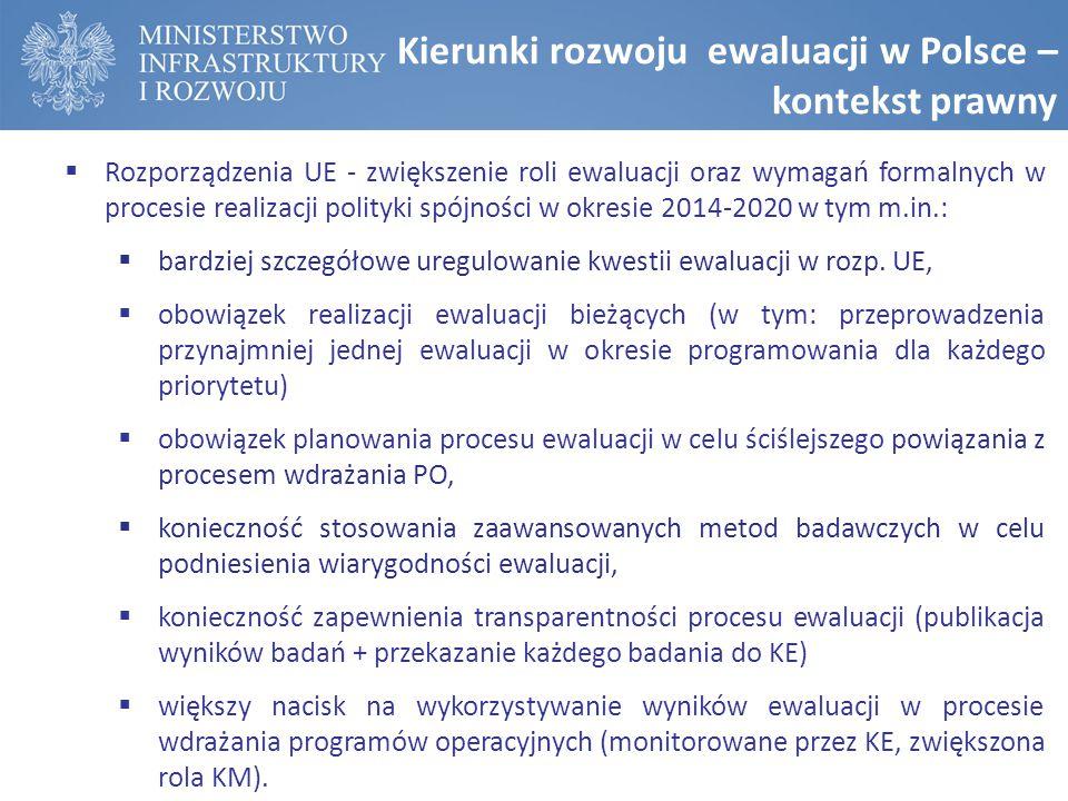 Kierunki rozwoju ewaluacji w Polsce – kontekst prawny  Rozporządzenia UE - zwiększenie roli ewaluacji oraz wymagań formalnych w procesie realizacji polityki spójności w okresie 2014-2020 w tym m.in.:  bardziej szczegółowe uregulowanie kwestii ewaluacji w rozp.