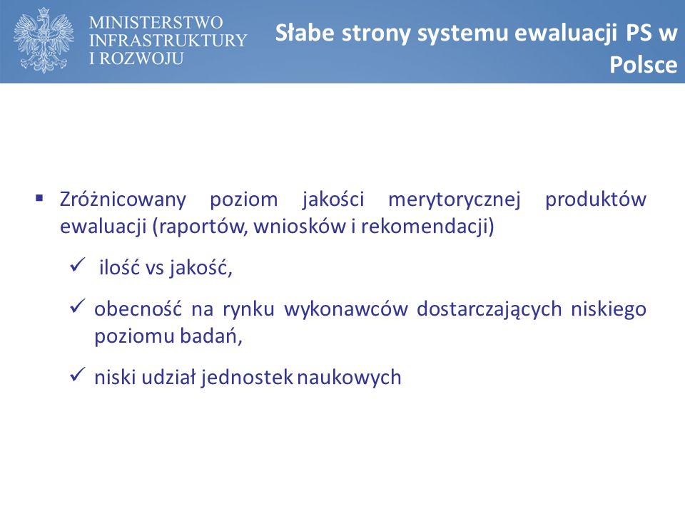 Słabe strony systemu ewaluacji PS w Polsce  Zróżnicowany poziom jakości merytorycznej produktów ewaluacji (raportów, wniosków i rekomendacji) ilość vs jakość, obecność na rynku wykonawców dostarczających niskiego poziomu badań, niski udział jednostek naukowych