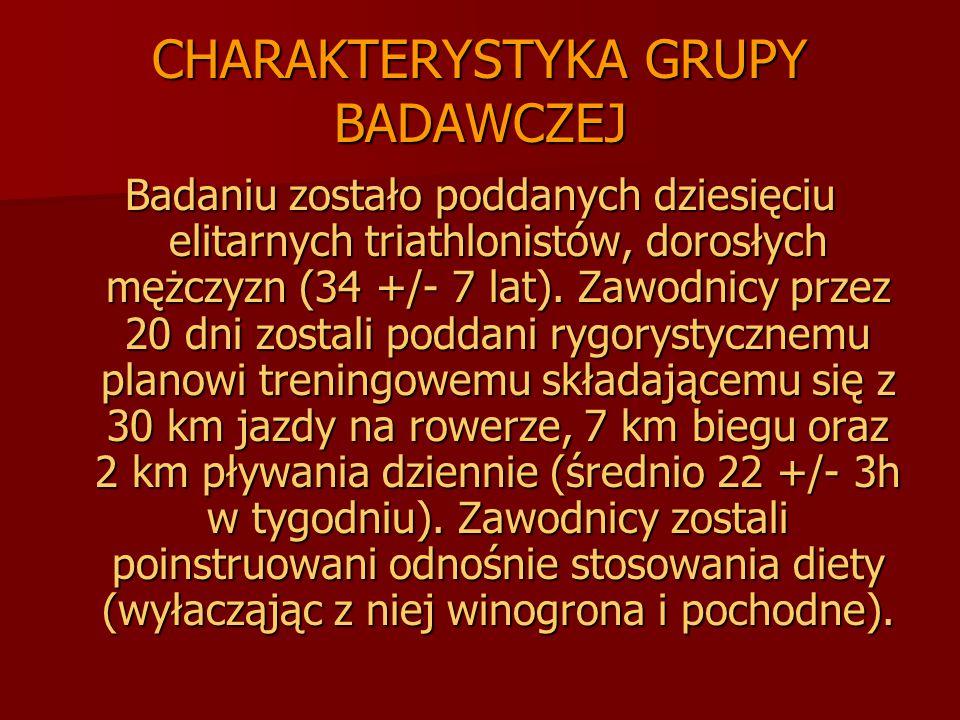 CHARAKTERYSTYKA GRUPY BADAWCZEJ Badaniu zostało poddanych dziesięciu elitarnych triathlonistów, dorosłych mężczyzn (34 +/- 7 lat). Zawodnicy przez 20
