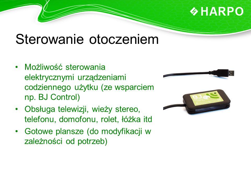 Sterowanie otoczeniem Możliwość sterowania elektrycznymi urządzeniami codziennego użytku (ze wsparciem np. BJ Control) Obsługa telewizji, wieży stereo
