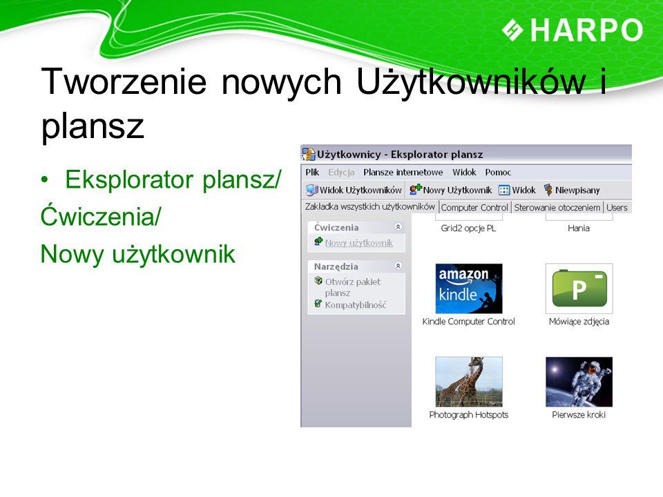 Tworzenie nowych Użytkowników i plansz Eksplorator plansz/ Ćwiczenia/ Nowy użytkownik