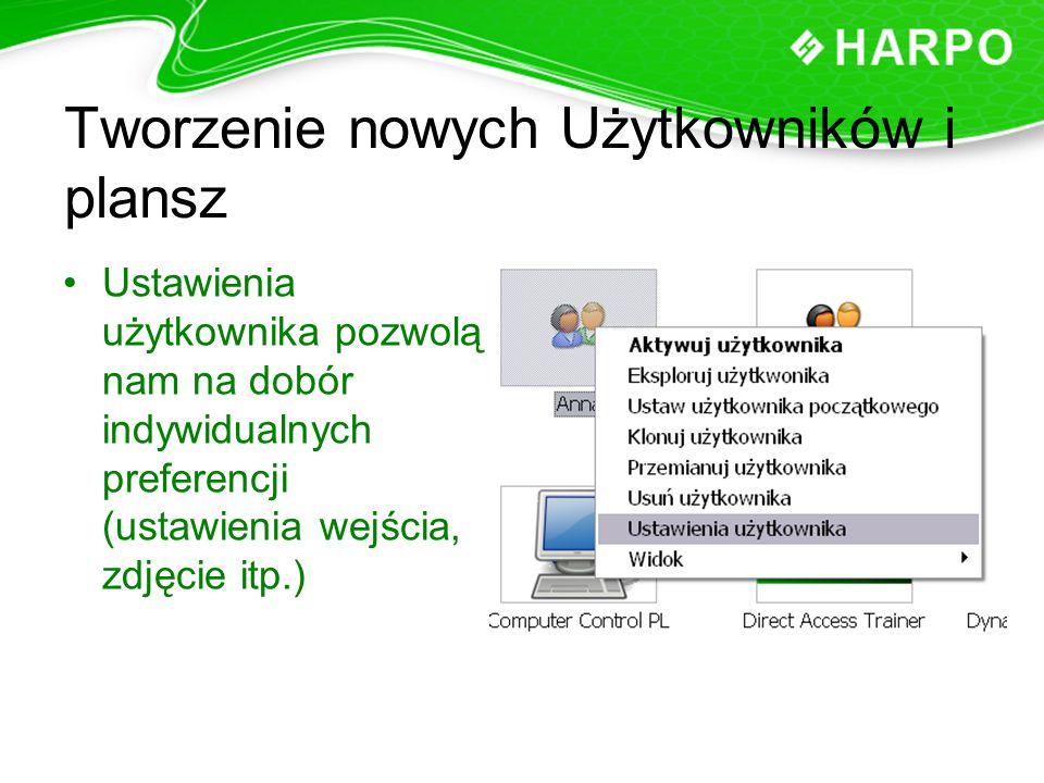 Tworzenie nowych Użytkowników i plansz Ustawienia użytkownika pozwolą nam na dobór indywidualnych preferencji (ustawienia wejścia, zdjęcie itp.)