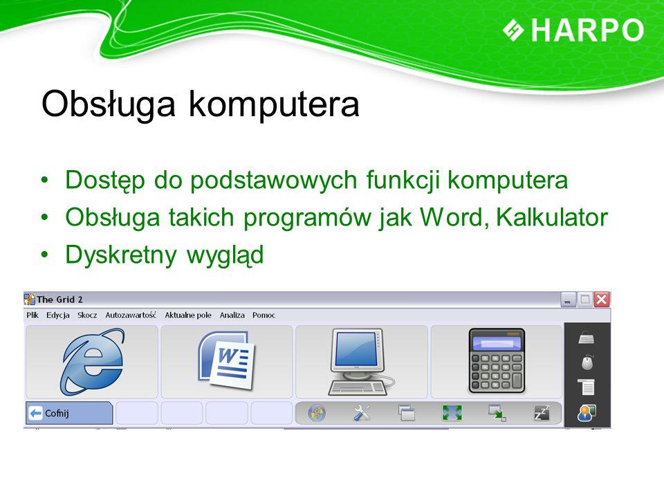 Obsługa komputera Dostęp do podstawowych funkcji komputera Obsługa takich programów jak Word, Kalkulator Dyskretny wygląd