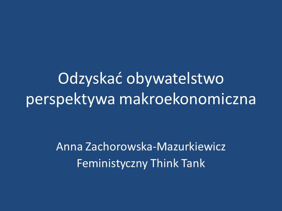 Odzyskać obywatelstwo perspektywa makroekonomiczna Anna Zachorowska-Mazurkiewicz Feministyczny Think Tank