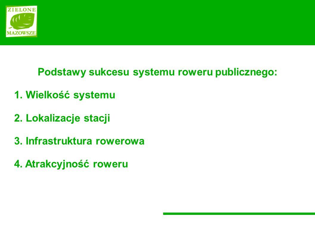 Podstawy sukcesu systemu roweru publicznego: 1.Wielkość systemu 2.