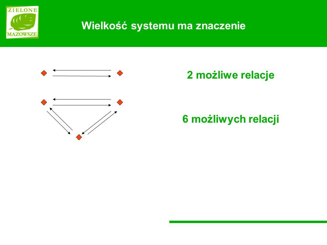 Wielkość systemu ma znaczenie 2 możliwe relacje 6 możliwych relacji