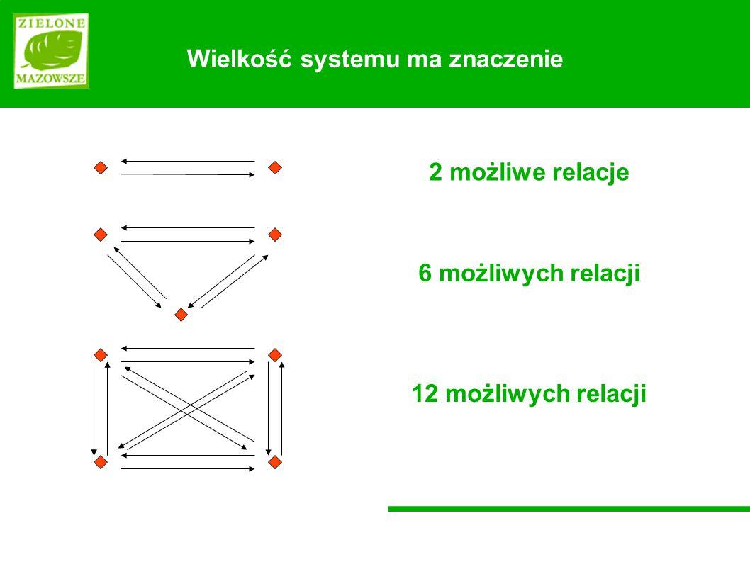 Wielkość systemu ma znaczenie 2 możliwe relacje 12 możliwych relacji 6 możliwych relacji