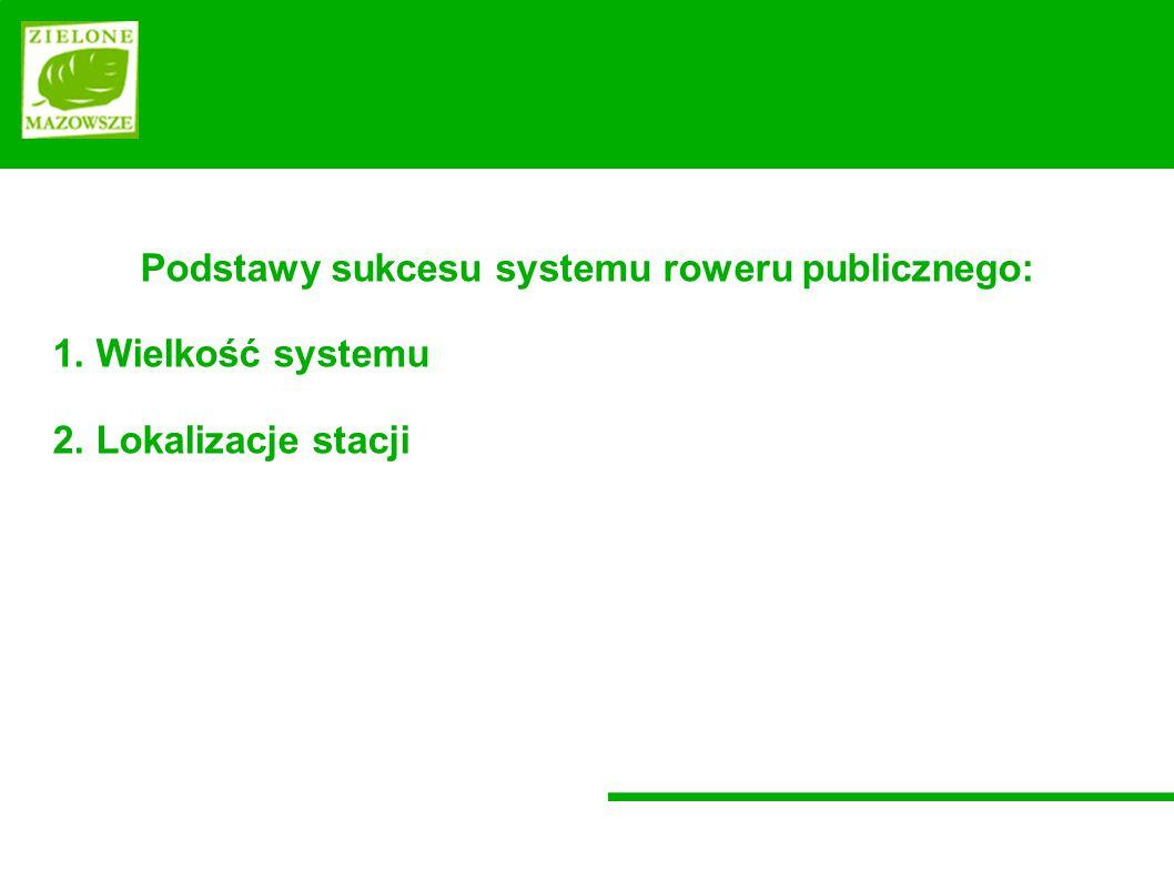 Wielkość systemu ma znaczenie 10 stacji - 90 możliwych relacji 50 stacji - 2450 możliwych relacji 20 stacji - 380 możliwych relacji 100 stacji - 9900 możliwych relacji Tylko DUŻE systemy roweru publicznego mają sens ekonomiczny i transportowy.