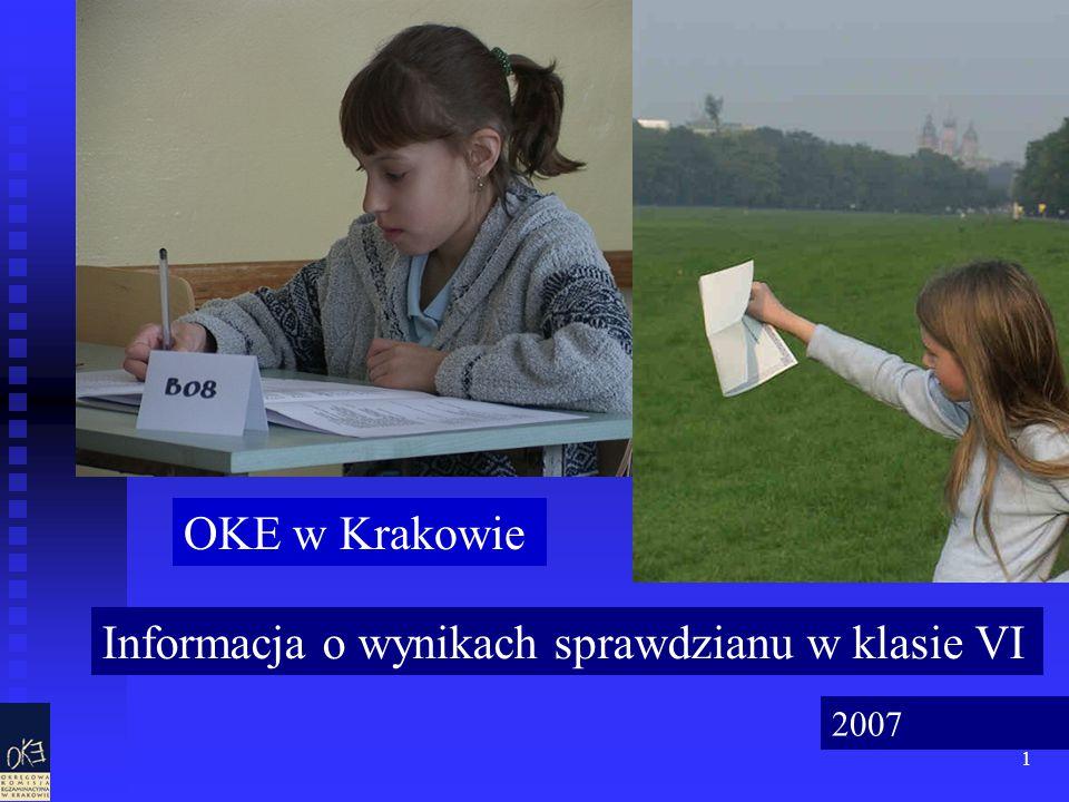 1 Informacja o wynikach sprawdzianu w klasie VI OKE w Krakowie 2007