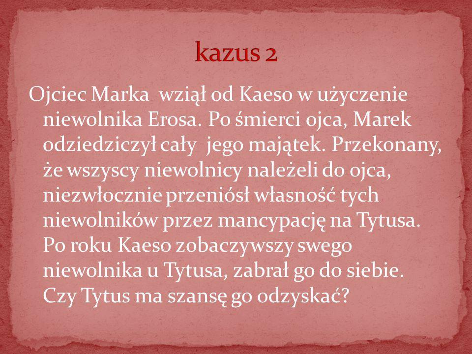 Ojciec Marka wziął od Kaeso w użyczenie niewolnika Erosa. Po śmierci ojca, Marek odziedziczył cały jego majątek. Przekonany, że wszyscy niewolnicy nal