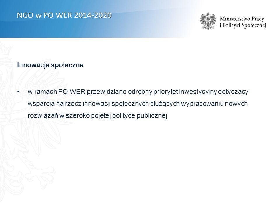Innowacje społeczne w ramach PO WER przewidziano odrębny priorytet inwestycyjny dotyczący wsparcia na rzecz innowacji społecznych służących wypracowaniu nowych rozwiązań w szeroko pojętej polityce publicznej NGO w PO WER 2014-2020