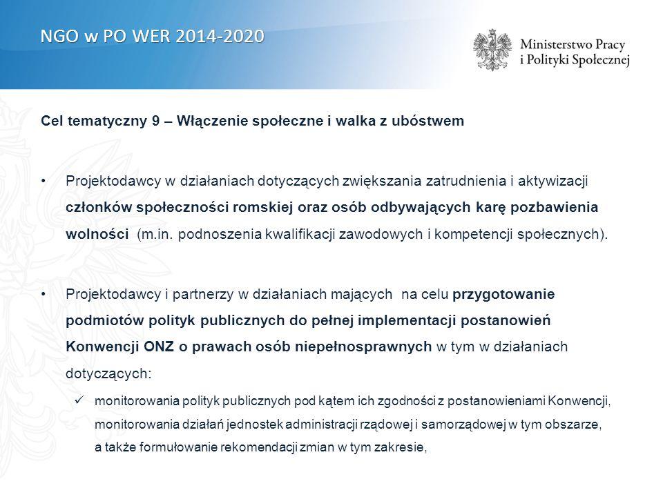 Cel tematyczny 9 – Włączenie społeczne i walka z ubóstwem Projektodawcy w działaniach dotyczących zwiększania zatrudnienia i aktywizacji członków społeczności romskiej oraz osób odbywających karę pozbawienia wolności (m.in.