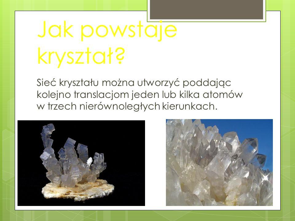 Jak powstaje kryształ? Sieć kryształu można utworzyć poddając kolejno translacjom jeden lub kilka atomów w trzech nierównoległych kierunkach.