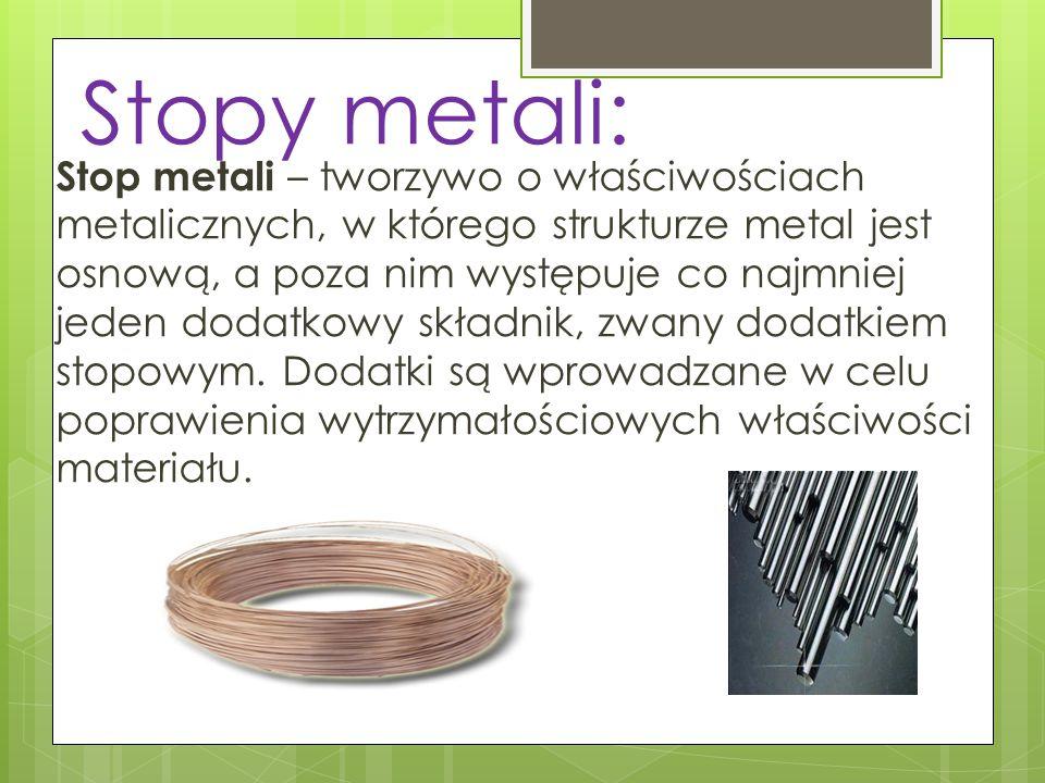 Stopy metali: Stop metali – tworzywo o właściwościach metalicznych, w którego strukturze metal jest osnową, a poza nim występuje co najmniej jeden dod