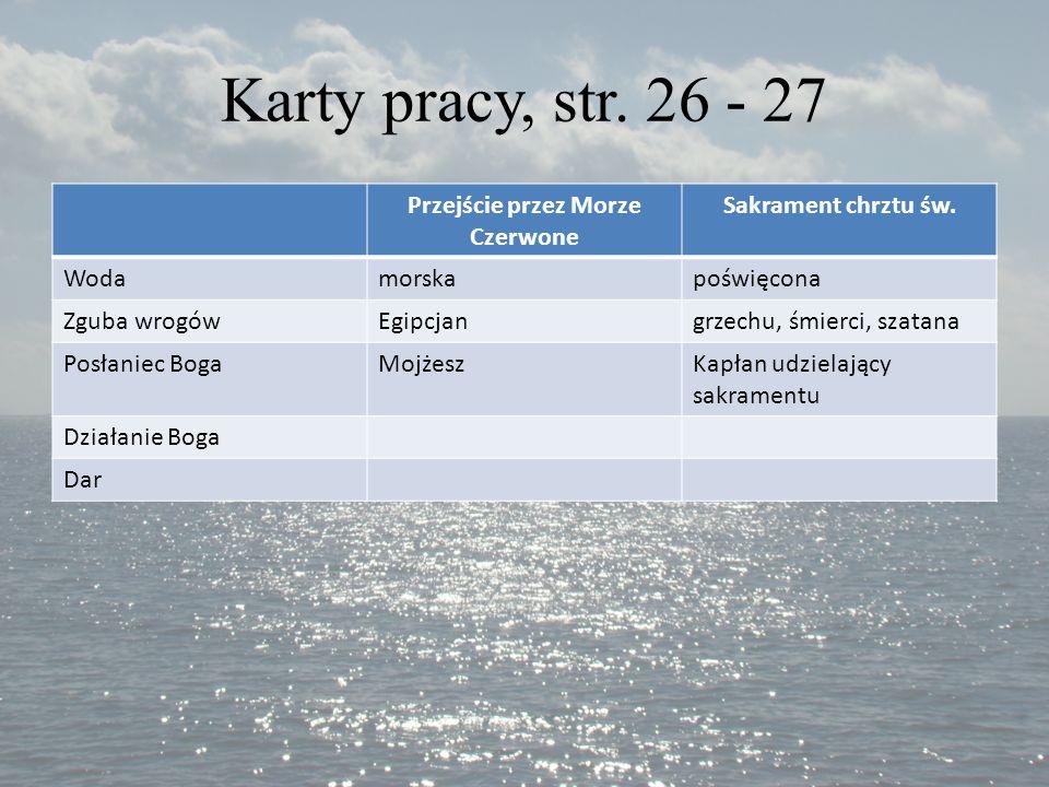 Karty pracy, str. 26 - 27 Przejście przez Morze Czerwone Sakrament chrztu św. Wodamorskapoświęcona Zguba wrogówEgipcjangrzechu, śmierci, szatana Posła
