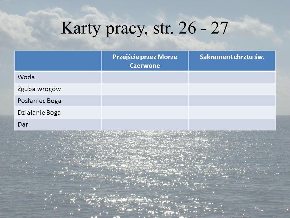 Karty pracy, str. 26 - 27 Przejście przez Morze Czerwone Sakrament chrztu św. Woda Zguba wrogów Posłaniec Boga Działanie Boga Dar