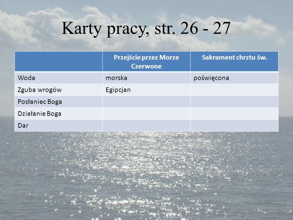 Karty pracy, str.26 - 27 Przejście przez Morze Czerwone Sakrament chrztu św.