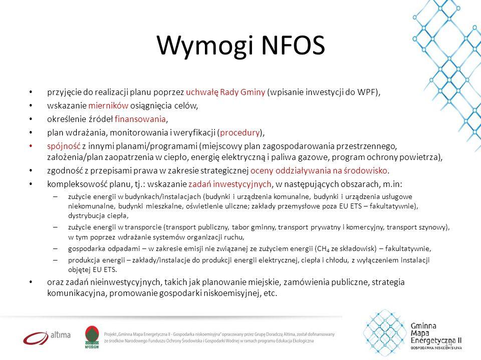 Wymogi NFOS przyjęcie do realizacji planu poprzez uchwałę Rady Gminy (wpisanie inwestycji do WPF), wskazanie mierników osiągnięcia celów, określenie źródeł finansowania, plan wdrażania, monitorowania i weryfikacji (procedury), spójność z innymi planami/programami (miejscowy plan zagospodarowania przestrzennego, założenia/plan zaopatrzenia w ciepło, energię elektryczną i paliwa gazowe, program ochrony powietrza), zgodność z przepisami prawa w zakresie strategicznej oceny oddziaływania na środowisko.