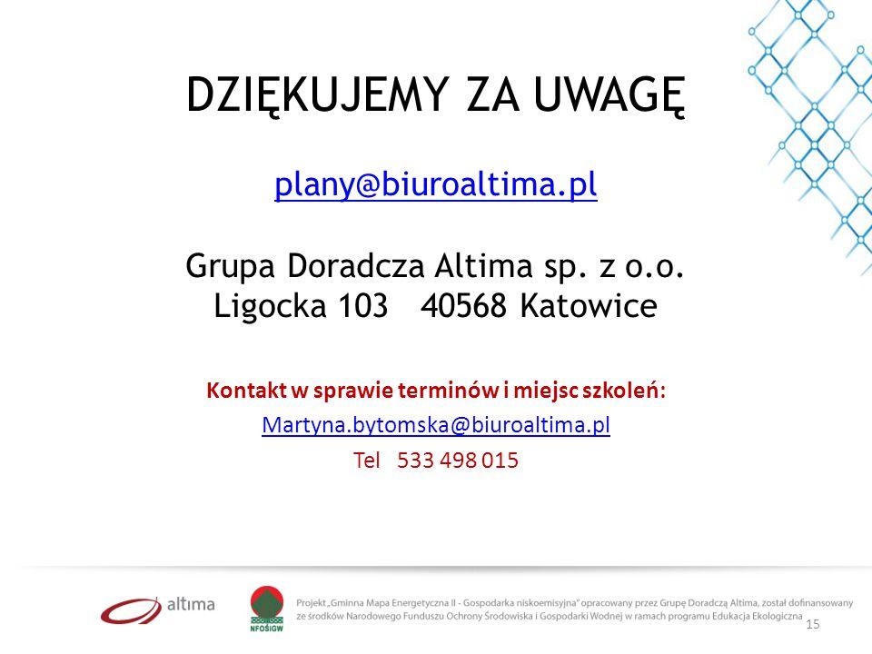 Kontakt w sprawie terminów i miejsc szkoleń: Martyna.bytomska@biuroaltima.pl Tel 533 498 015 DZIĘKUJEMY ZA UWAGĘ plany@biuroaltima.pl Grupa Doradcza Altima sp.