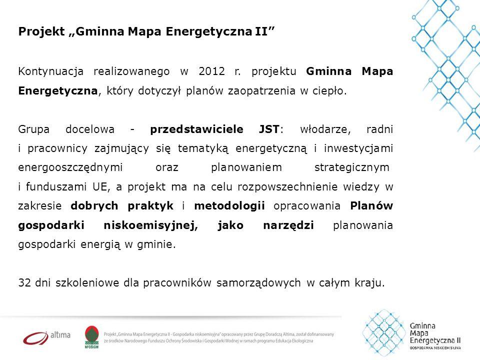 """Projekt """"Gminna Mapa Energetyczna II W ramach projektu GME II powstanie: 5 modelowych analiz wykonalności przedsięwzięć obniżających emisję zanieczyszczeń i gazów cieplarnianych."""