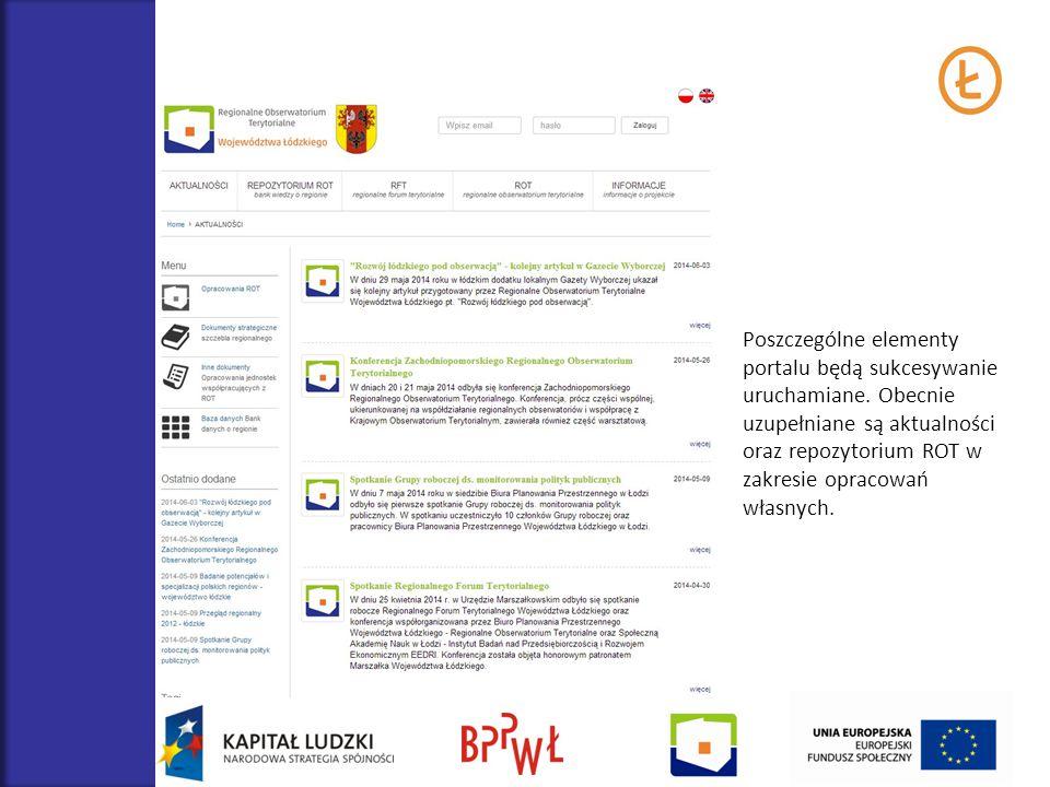 Poszczególne elementy portalu będą sukcesywanie uruchamiane. Obecnie uzupełniane są aktualności oraz repozytorium ROT w zakresie opracowań własnych.