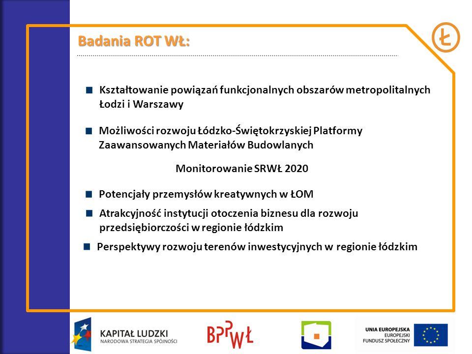 Badania ROT WŁ: Kształtowanie powiązań funkcjonalnych obszarów metropolitalnych Łodzi i Warszawy Możliwości rozwoju Łódzko-Świętokrzyskiej Platformy Z