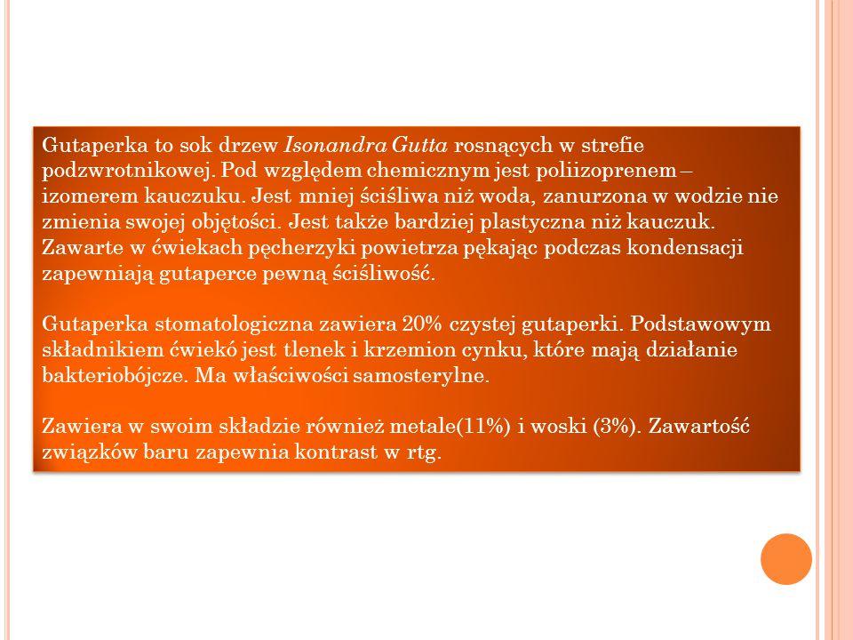 Gutaperka to sok drzew Isonandra Gutta rosnących w strefie podzwrotnikowej. Pod względem chemicznym jest poliizoprenem – izomerem kauczuku. Jest mniej