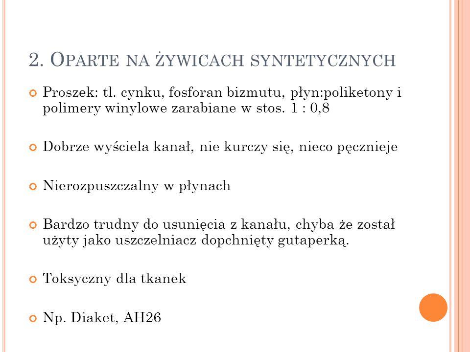 2. O PARTE NA ŻYWICACH SYNTETYCZNYCH Proszek: tl. cynku, fosforan bizmutu, płyn:poliketony i polimery winylowe zarabiane w stos. 1 : 0,8 Dobrze wyście