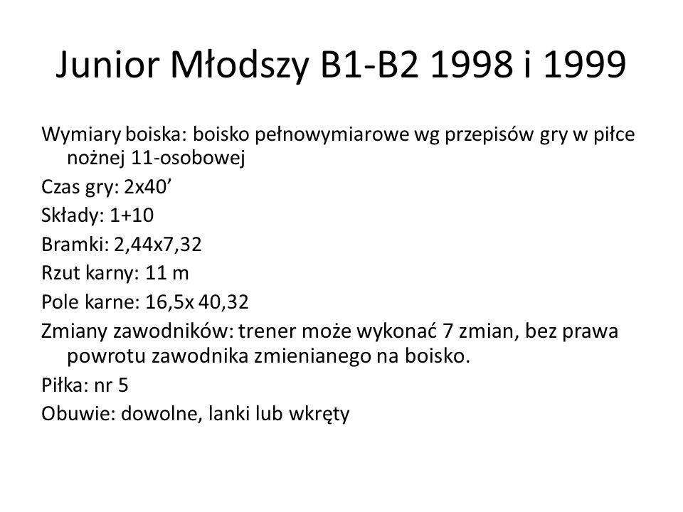 Junior Młodszy B1-B2 1998 i 1999 Wymiary boiska: boisko pełnowymiarowe wg przepisów gry w piłce nożnej 11-osobowej Czas gry: 2x40' Składy: 1+10 Bramki