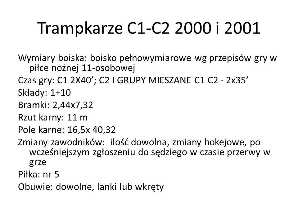 Trampkarze C1-C2 2000 i 2001 Wymiary boiska: boisko pełnowymiarowe wg przepisów gry w piłce nożnej 11-osobowej Czas gry: C1 2X40'; C2 I GRUPY MIESZANE