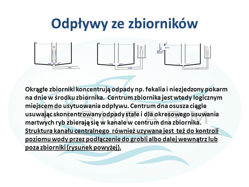 Odpływy ze zbiorników Okrągłe zbiorniki koncentrują odpady np. fekalia i niezjedzony pokarm na dnie w środku zbiornika. Centrum zbiornika jest wtedy l