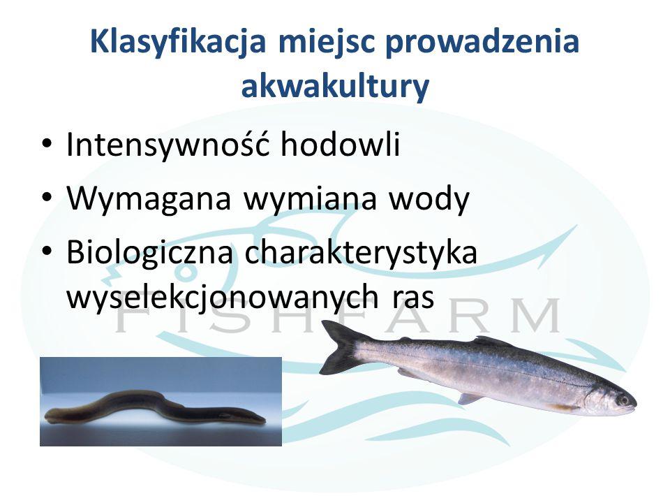 Klasyfikacja miejsc prowadzenia akwakultury Intensywność hodowli Wymagana wymiana wody Biologiczna charakterystyka wyselekcjonowanych ras