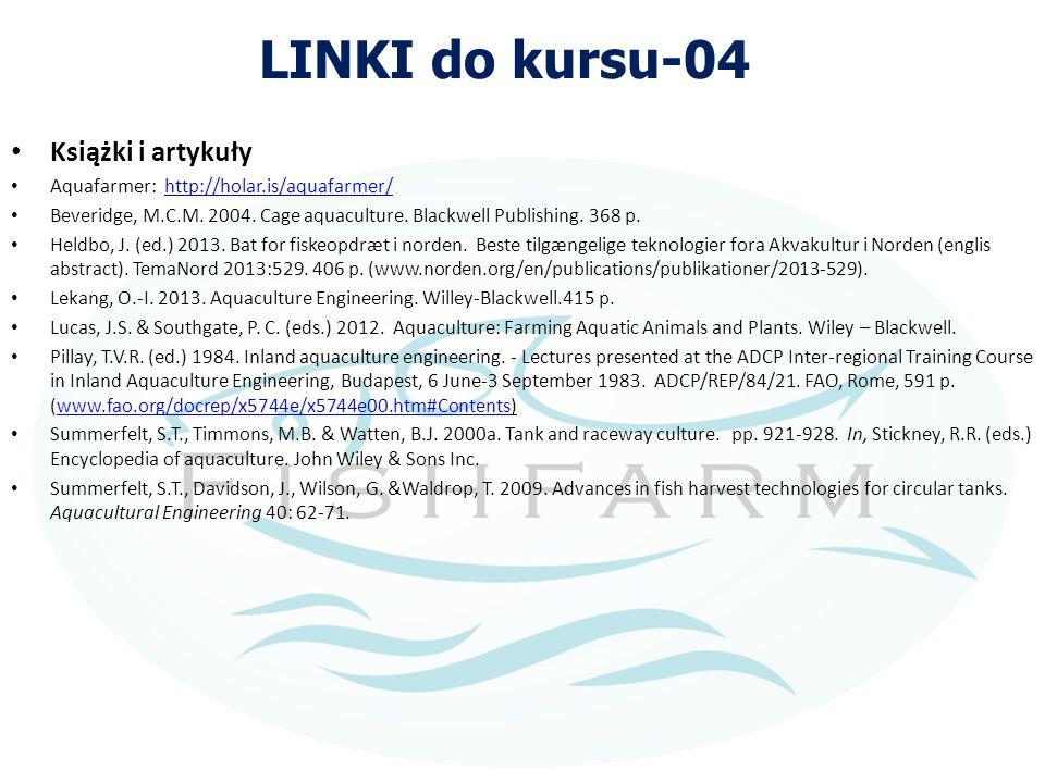 LINKI do kursu-04 Książki i artykuły Aquafarmer: http://holar.is/aquafarmer/http://holar.is/aquafarmer/ Beveridge, M.C.M. 2004. Cage aquaculture. Blac