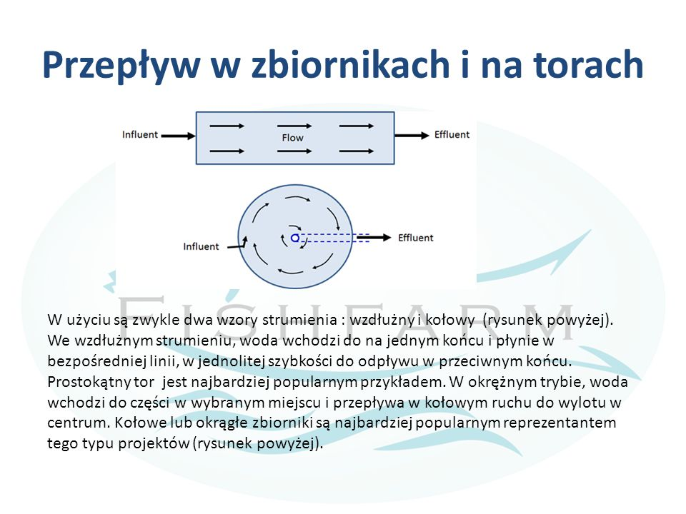 Przepływ w zbiornikach i na torach W użyciu są zwykle dwa wzory strumienia : wzdłużny i kołowy (rysunek powyżej). We wzdłużnym strumieniu, woda wchodz