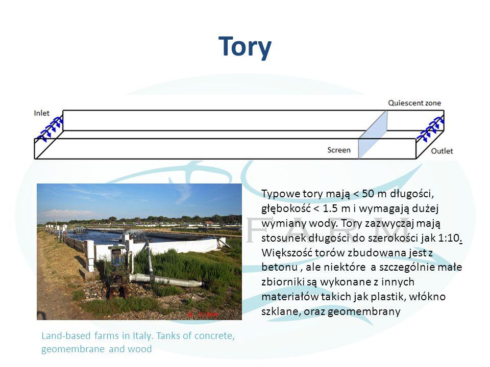 Tory Typowe tory mają < 50 m długości, głębokość < 1.5 m i wymagają dużej wymiany wody. Tory zazwyczaj mają stosunek długości do szerokości jak 1:10.