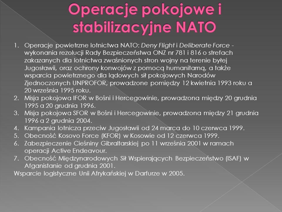 1.Operacje powietrzne lotnictwa NATO: Deny Flight i Deliberate Force - wykonania rezolucji Rady Bezpieczeństwa ONZ nr 781 i 816 o strefach zakazanych